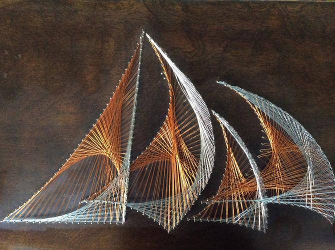 Vintage 1970s Metallic String Art Copper Wire Art
