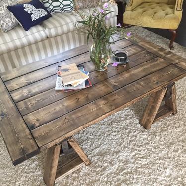 Farmhouse Coffee Table, Rustic Coffee Table,Sawhorse Rustic Coffee Table by ArcherHomeDesigns