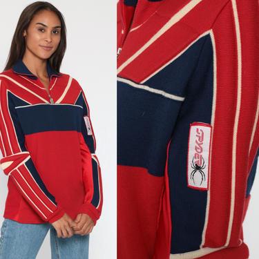 Vintage Spyder Ski Sweater PADDED Winter Sweater 80s Red Wool Shirt Sportswear Pullover Striped Sweater Jumper Winter Wear 1980s Medium 38 by ShopExile