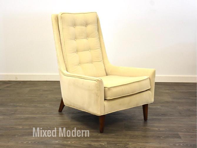 Off White Velvet Mid Century Lounge Chair by mixedmodern1