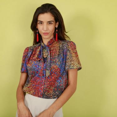 70s Black Colorful Abstract Print Top Vintage Short Sleeve Petal Blouse by AppleBranchesVintage