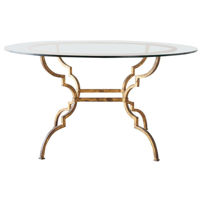 Italian Hollywood Regency Gilt Iron Dining or Centre Table by ErinLaneEstate
