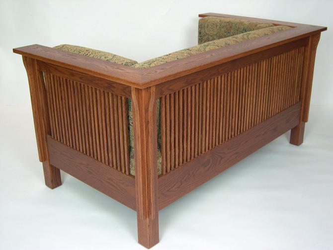 Mission Arts and Crafts Stickley Style Prairie Spindle Settle Loveseat by DaleMartinFurniture