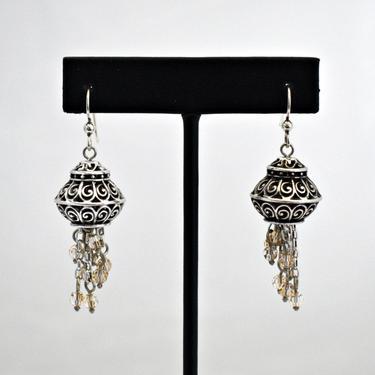 Ornate 70's sterling crystal waterfall belly dancer dangles, big detailed 925 silver open work faceted glass Eastern tribal bling earrings by BetseysBeauties