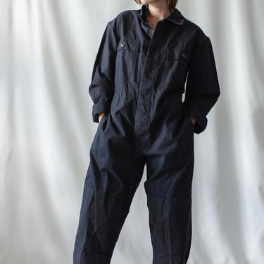 Vintage Black Cotton Coverall   Jump Suit Jumpsuit   Cotton Onesie Mechanic   Boilersuit Boiler Suit   S M by RAWSONSTUDIO