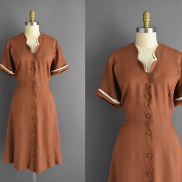 50s dress   Lane Bryant brown scallop short sleeve dress   XXL   1950s vintage dress by simplicityisbliss