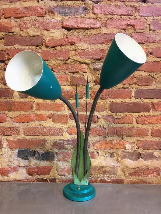 Double headed vintage green cattail desk lamp by UrbanInteriorsBalt