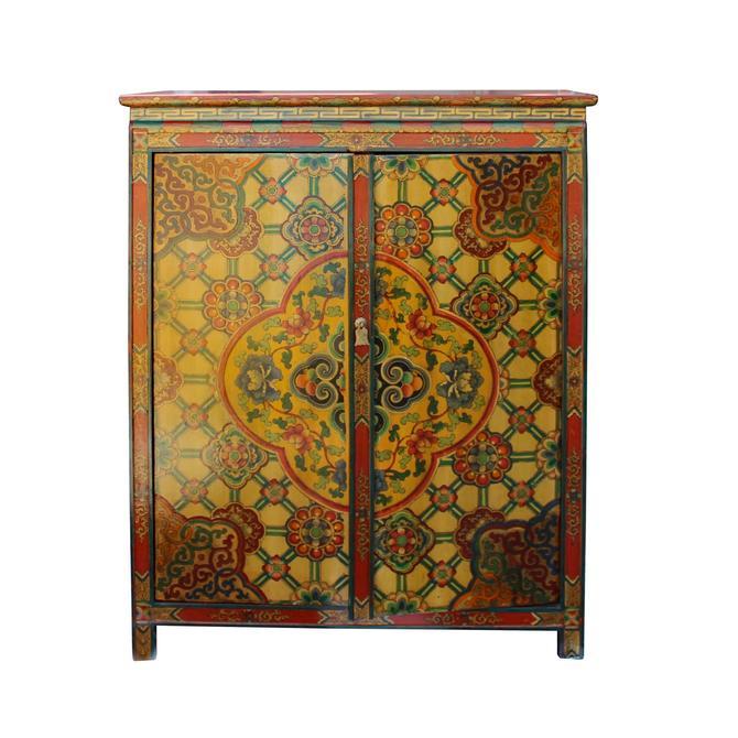 Chinese Tibetan Jewel Flower Graphic Credenza Storage Cabinet cs5769S