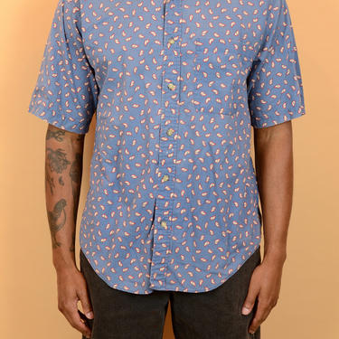 Vintage Blue Paisley Print Short Button Down Shirt Oversize Large by MAWSUPPLY