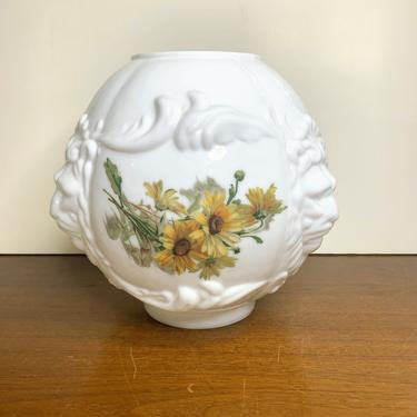 Vintage Gone with the Wind Banquet Lion's Head White Milk Glass Ball Lamp Globe by OverTheYearsFinds