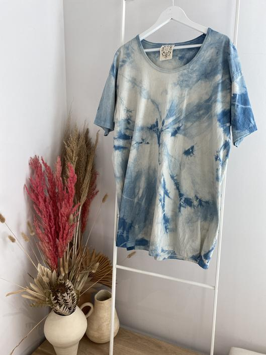 MBS Naturally Dyed Sleep Shirt, Organic Cotton in Indigo Tie-Dye