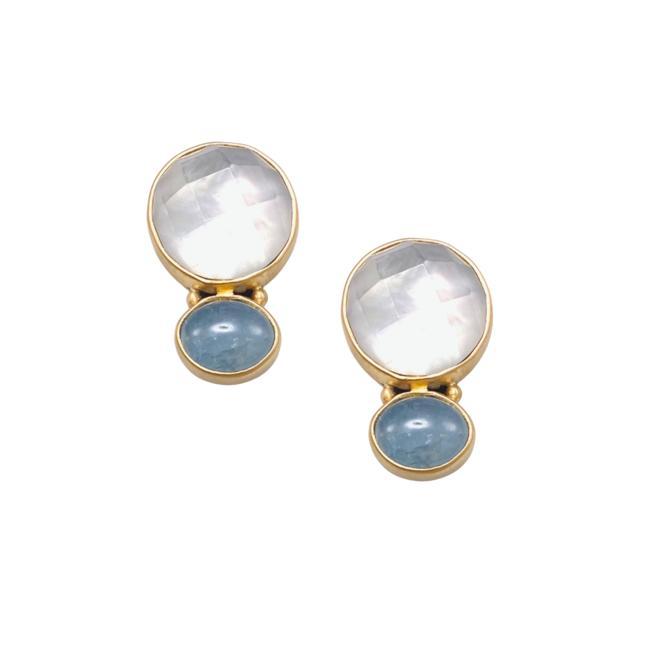 Doublet Aquamarine Stud Earring