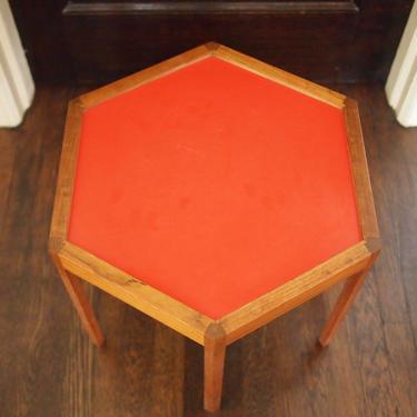 Rare Vintage Hans C. Andersen Solid TEAK Hexagonal SIDE / End TABLE, Red-Orange Top, mid-century modern danish dansk eames knoll era by refugegallery