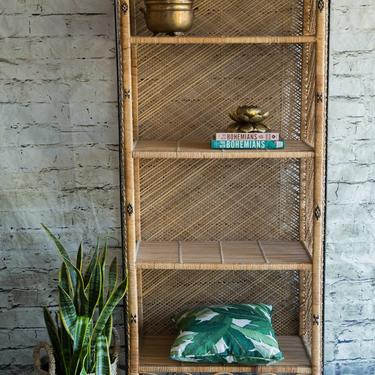 SHIPPING NOT FREE!!! Vintage Wicker Bookshelf/ Etagere/ Hutch/ Cabinet by WorldofWicker