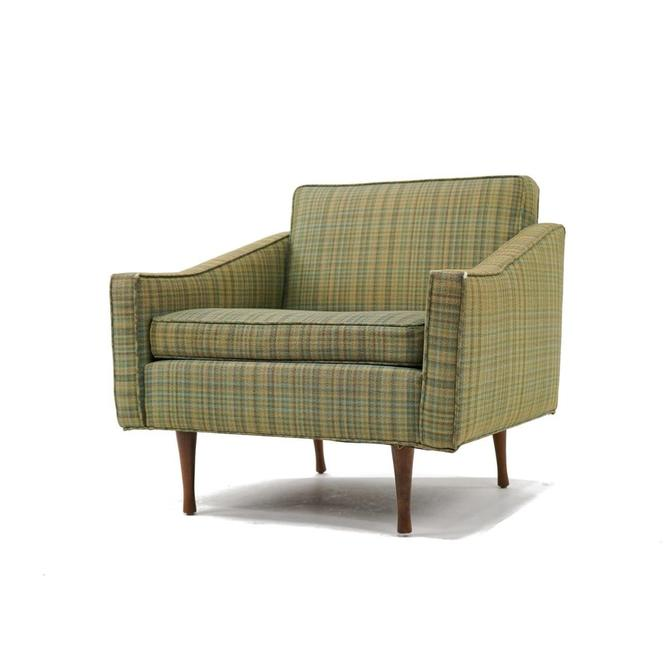 Globe Green Check Upholstered Lounge Chair