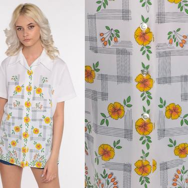 70s Floral Shirt 70s Button Up Shirt White Bohemian Dagger Collar Shirt Boho Blouse 1970s Hippie Top Short Sleeve Vintage Large L by ShopExile