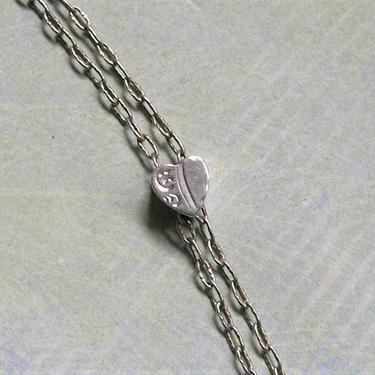 Antique Sterling Slide Chain, Old Sterling Silver Watch Chain With Slide, Sterling Heart Slide Chain (#3667) by keepsakejewels