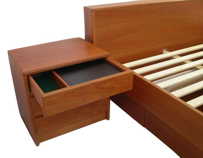 One (1) Danish Modern Teak Nightstand / End Table, MCM Eames Bedroom