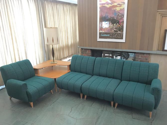 Heywood Wakefield Sectional Sofa with Corner Table by MidCenturyModHome