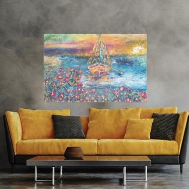 Seascape Coastal Sailboat Canvas Wall Art Print ~ Nautical Seascape ~ Ocean Sailboat Boathouse Art ~ Abstract Sailboat ~ Beach House Décor by DareToBeVintage