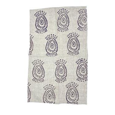 Linen Tea Towel in Purple Haze Pineapple Flower