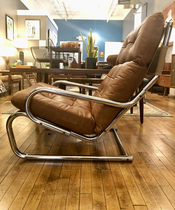 Vintage Scandinavian Leather & Chrome Lounge Chair