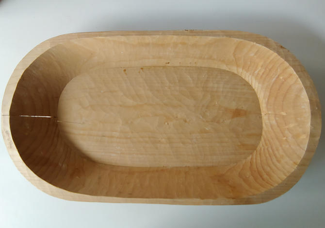 Vintage Hand Carved Wood Dough Bowl by ModandOzzie