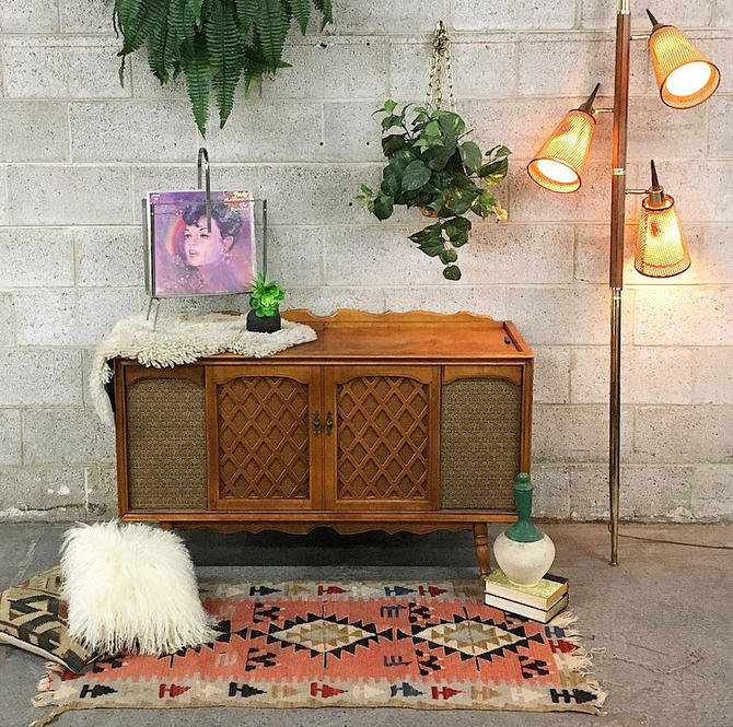 LOCAL PICKUP ONLY Vintage Sears Floor Lamp Retro 1970s Spring Loaded Floor to Ceiling Lamp With Brown Wood + Brass Body + 3 Cane Shades by RetrospectVintage215