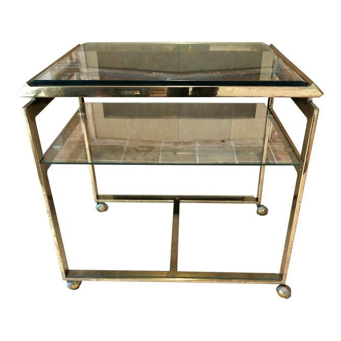 Mid Century Brass Bar Cart Floating Glass Top