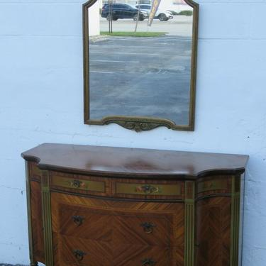 Early 1900s French Hand Painted Bombay Commode Dresser with Mirror 2461