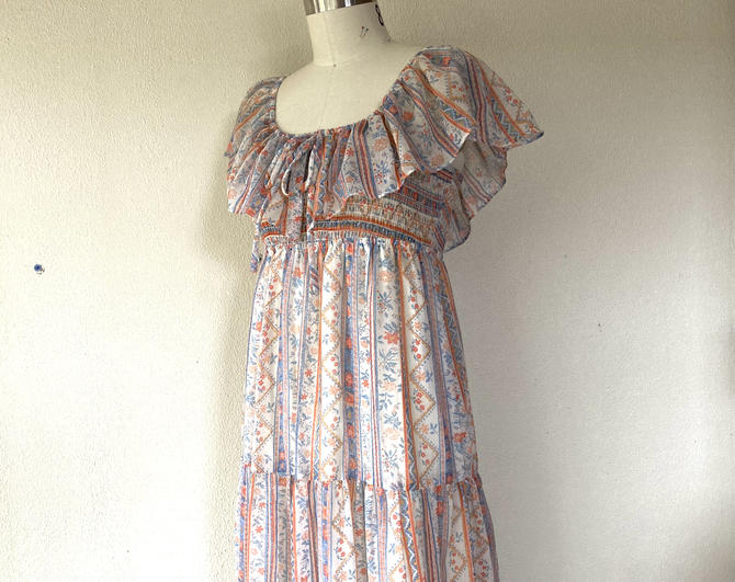 1970s Floral tiered maxi dress by VelvetGoldmineShop