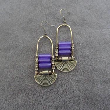 Purple sea glass earrings, chandelier earrings, statement earrings, bold earrings, etched metal earrings, tribal ethnic earrings, chic by Afrocasian
