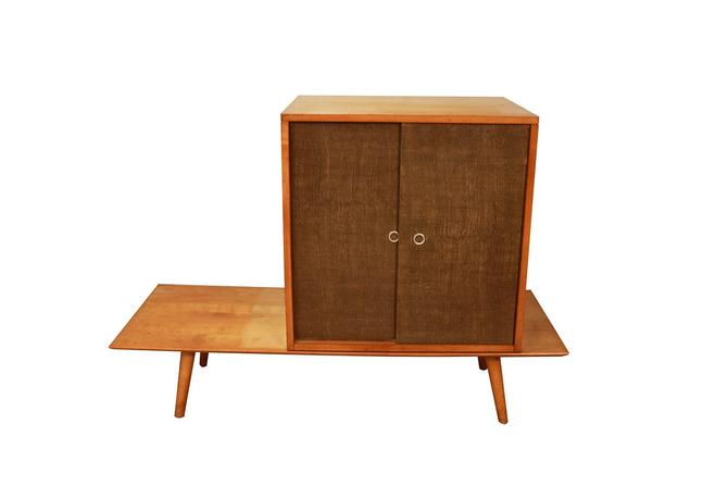 Paul McCobb Planner Group Bench Grass Cloth Cabinet Original By Winchendon Birch Wood by Marykaysfurniture