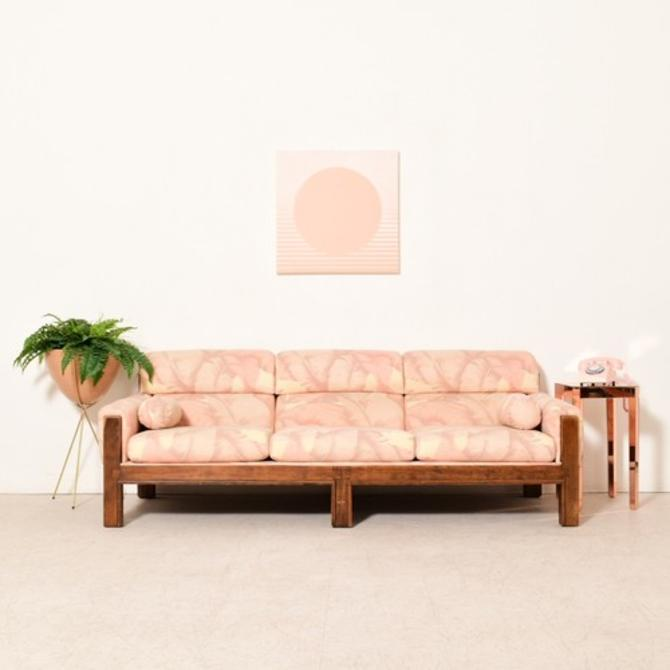 Vintage 1970's Pink Palm Tree Sofa
