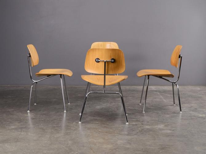 4 Eames DCM Oak and Steel Dining Chairs Authentic Mid-Century Modern by MadsenModern