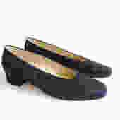 Vintage 90s Navy Blue Suede Block Heel Shoes/ Minimalist Slip On Glove Shoes/ Nine West/ Size 6 by bottleofbread