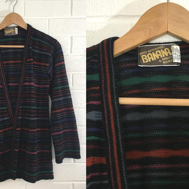 Vintage Bananas Nancy Bossio Cardigan Sweater 70s Black Striped 1970s Long Sleeved Open Front Stripes Knit Green Boho Space Dyed Medium M by CheckEngineVintage