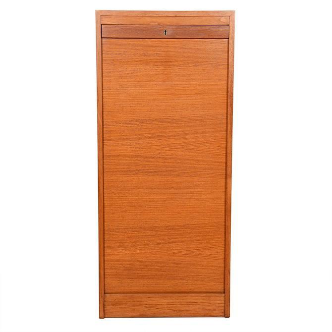 Tall Danish Teak Locking Tambour Door Filing Cabinet