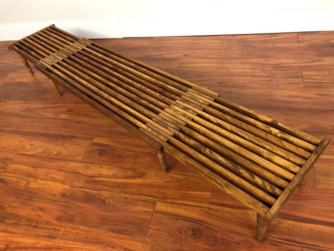John Keal Brown Saltman Expandable Slat Bench by Vintagefurnitureetc
