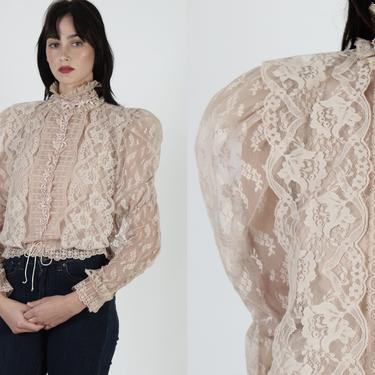 Tan Lace Victorian Style Blouse / Vintage 70s See Through Antique Top / High Neck Floral Pattern / Womens Puff Sleeve Antique Saloon Shirt by americanarchive