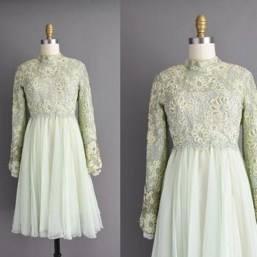 vintage 1960s | Lord & Taylor Green Silver + Gold Beaded Cocktail Party Bridesmaid Wedding Dress | Small | 60s dress by simplicityisbliss