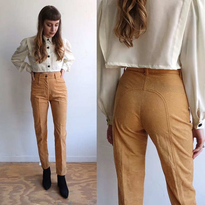Vintage 70s Fredericks of Hollywood Tan Horseshoe Western Pants/ 1970s High Waisted Straight Leg/Faux Suede/ Size XS by bottleofbread