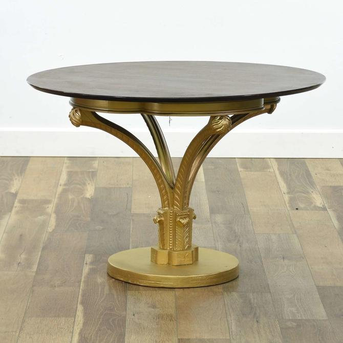 Hollywood Regency Gilt Pedestal Round Foyer Table