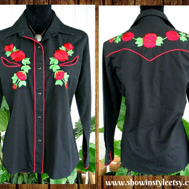 Karman Vintage Western Cowgirl Shirt, Rodeo Blouse, Embroidered Red Roses, Tag Size 14/36, Approx. Size Medium (see meas. photo) by ShowinStyle