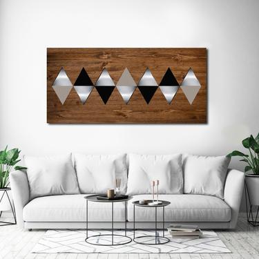 Geometric Wall Art, Wood Wall Art, Metal Art, Modern Wall Art, Modern Home Decor, Scandinavian Art, Wall Art Living Room Painting Abstract by LauraAshleyWoodArt