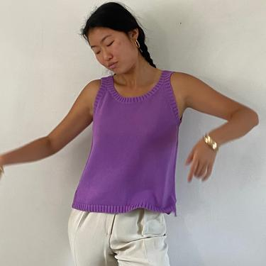 90s sweater tank cropped top / vintage violet cotton knit cutaway sleeve sleeveless tank top sweater vest   S by RecapVintageStudio