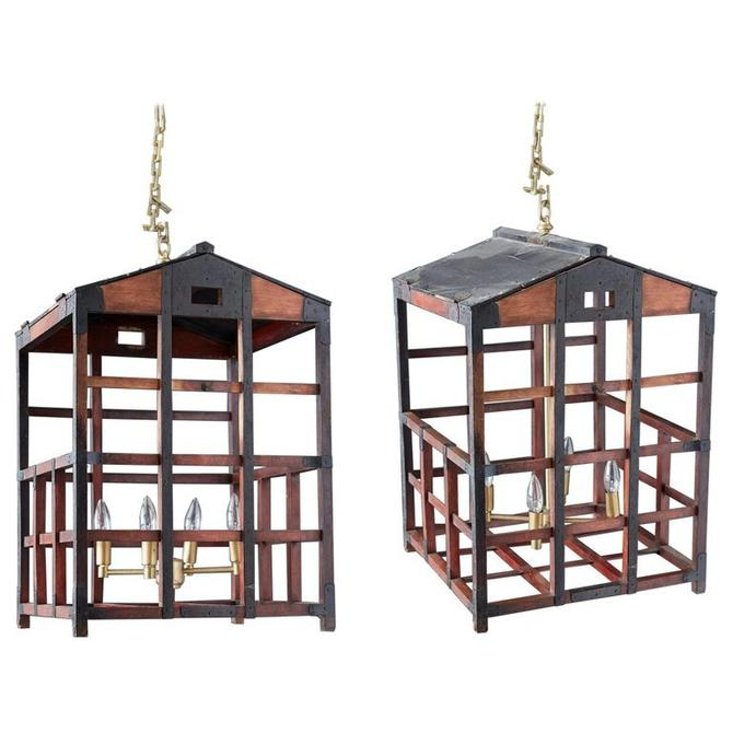 Pair of Japanese Tansu Style Wooden Crate Cage Chandeliers by ErinLaneEstate