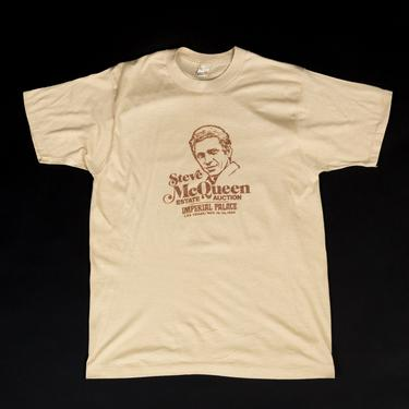 Vintage Steve McQueen Estate Auction T Shirt - Medium to Large   80s Las Vegas Screen Stars Graphic Collectible Tee by FlyingAppleVintage