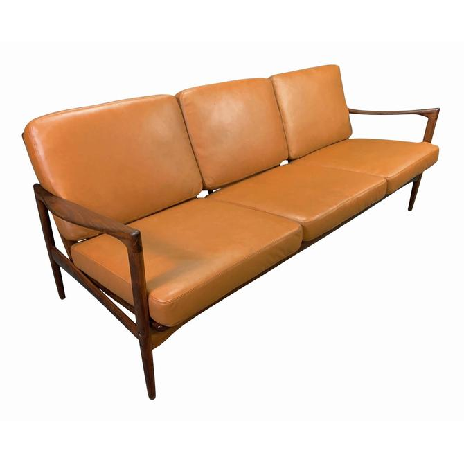 "Vintage Scandinavian Mid Century Modern Walnut & Leather ""Candidate"" Sofa by Ib Kofod Larsen for OPE by AymerickModern"