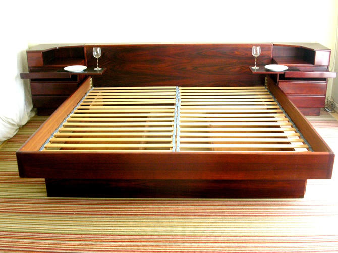 King Size Rosewood Platform Bed With Attached Nightstands + 2 Under Bed Storage by Scan Coll / MCM Mid Century Call 571-330-0810 by RetroSquad